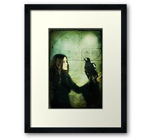 Girl with Magpie Framed Print