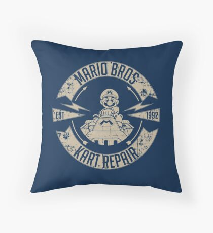 Mario Bros Kart Repairs Throw Pillow