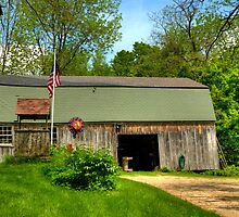 Wishing Well, Old Glory and the Old Barn by Monica M. Scanlan