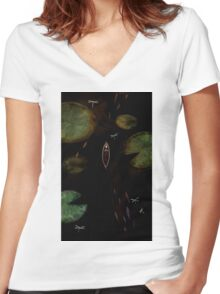 black lake Women's Fitted V-Neck T-Shirt