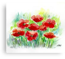 8 POPPIES - AQUAREL Canvas Print