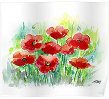 8 POPPIES - AQUAREL Poster