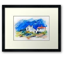 TWO WHITE HOUSES BY THE SEA Framed Print