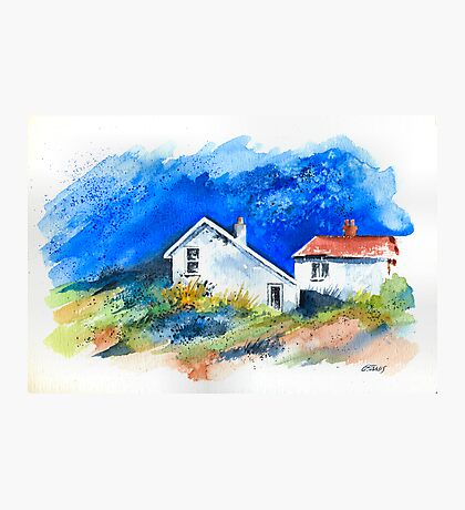 TWO WHITE HOUSES BY THE SEA Photographic Print