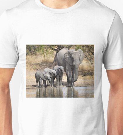 Elephant Mom and Babies Unisex T-Shirt