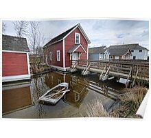 Steveston-house with sunken boat Poster