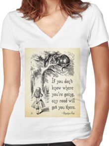 Alice in Wonderland Quote - Any Road - Cheshire Cat Quote - 0106 Women's Fitted V-Neck T-Shirt