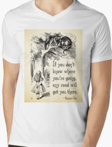 Alice in Wonderland Quote - Any Road - Cheshire Cat Quote - 0106 Mens V-Neck T-Shirt