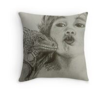 Theodore and little boy kisses Throw Pillow