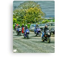 Group Of Bikers Canvas Print