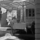 Dining out in Croatia - black and white by Tamara  Kaylor