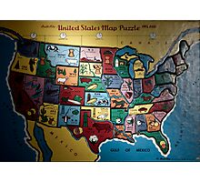 united states map puzzle Photographic Print
