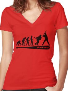 Baseball Evolution Women's Fitted V-Neck T-Shirt