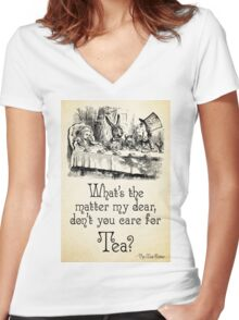 Alice in Wonderland Quote - Tea - Mad Hatter Quote - 0107 Women's Fitted V-Neck T-Shirt