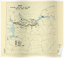 World War II Twelfth Army Group Situation Map July 24 1944 Poster