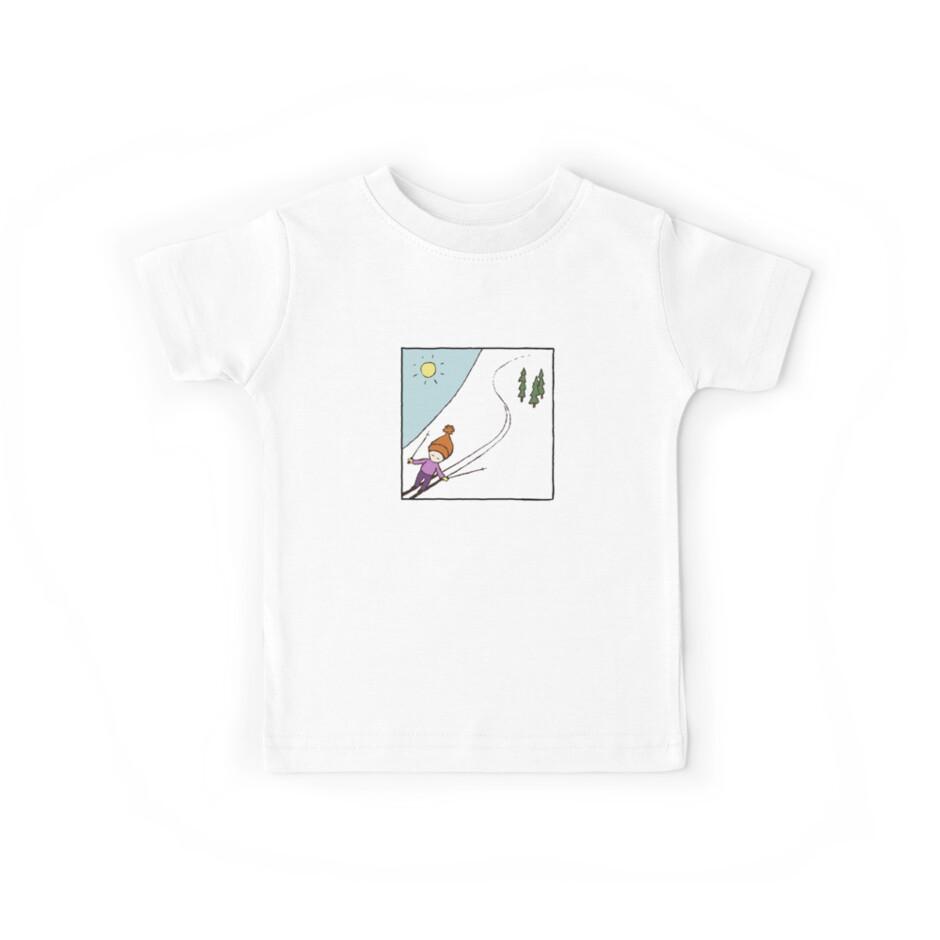 Ski Fun Kid's T-shirt by lynniebelle