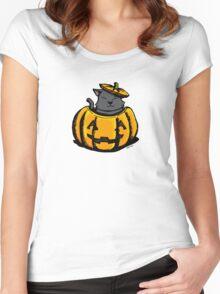 Cute Pumpkin Cat Halloween Women's Fitted Scoop T-Shirt