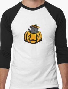 Cute Pumpkin Cat Halloween Men's Baseball ¾ T-Shirt
