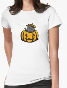 Cute Pumpkin Cat Halloween Womens Fitted T-Shirt