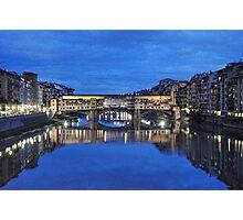 Ponte Vecchio blue night Photographic Print