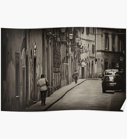 Siena street scene telephoto Poster