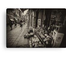 Vernazza street market scene Canvas Print
