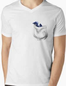 Little Dragon In My Pocket 1 - Blue Mens V-Neck T-Shirt