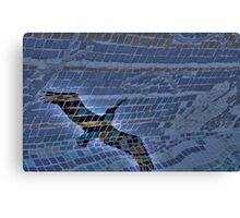 Pelican Meets Glass Tile Bench Canvas Print