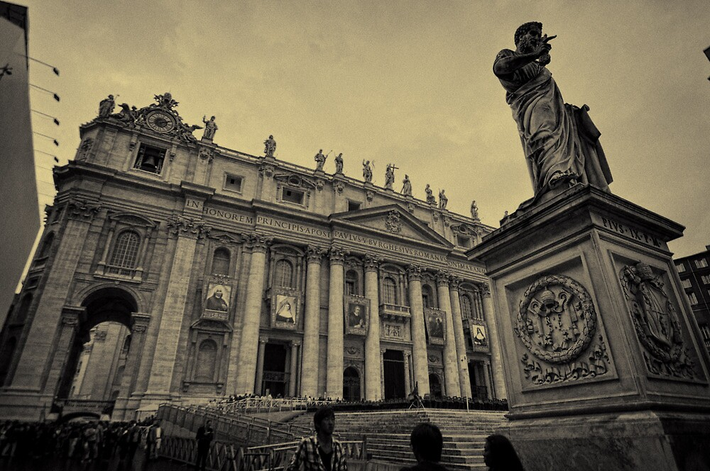 St. Peter's and statue with new Saints by Tom Davidson