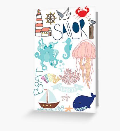 Nautical Doodles Greeting Card