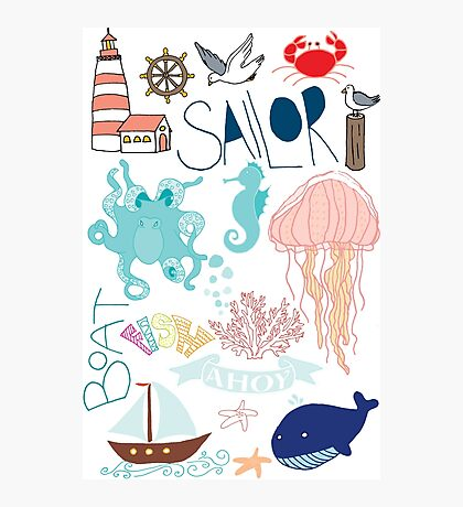 Nautical Doodles Photographic Print