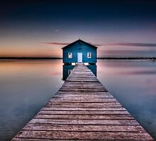 Sunrise on Crawley Boatshed 2 by Penny Lord