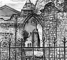 St John the Baptist Church & Ruins, Chester. Art Print Drawing  by Spencer  Derry