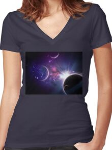 Planets and Nebulas Women's Fitted V-Neck T-Shirt