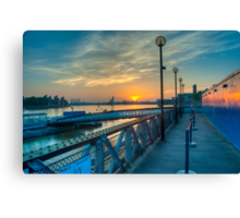 Sunrise at Greenwich Pier: River Thames Canvas Print