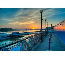 Sunrise at Greenwich Pier: River Thames Photographic Print