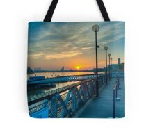 Sunrise at Greenwich Pier: River Thames Tote Bag