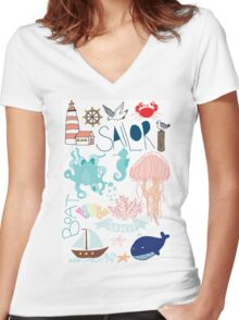 Nautical Doodles Women's Fitted V-Neck T-Shirt