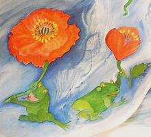 Floating poppies with frogs on a new Journey by Nora Fraser