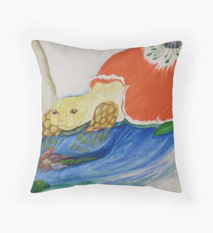 tortoise and frog are friendly Throw Pillow