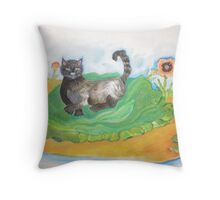 black cat with turtles Throw Pillow
