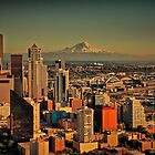 USA. Seattle. Downtown & Mount Rainier. by vadim19