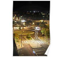 Bundaberg at night, CBD Bourbong st roundabout Poster