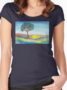Lone Tree in Summer Women's Fitted Scoop T-Shirt