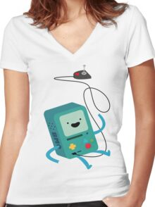 BMO & Controller Women's Fitted V-Neck T-Shirt