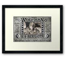 Wolfman K-9 Services Vintage (ver2) Framed Print