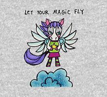 Let Your Magic Fly: Pegasus Drawing Watercolor Illustration Womens Fitted T-Shirt