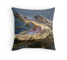 Alligator looking for Blue Crabs Throw Pillow