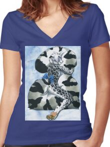 Snow Leopard Boy Women's Fitted V-Neck T-Shirt