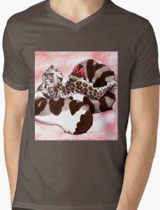 Snow Leopard Girl Mens V-Neck T-Shirt